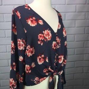 Urban Romantics Top Blouse Front Tie Floral Print